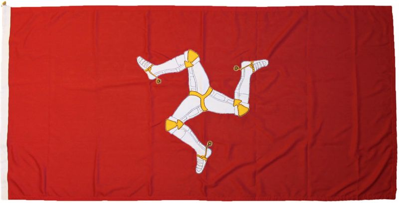 Isle of Man flag civil state sewn embroidered MoD approved stitched buy manx triskelion three legs