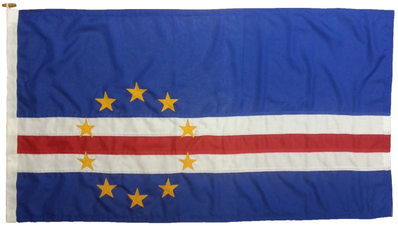 Cape Verde flag sewn Cabo embroidered MoD approved woven polyester courtesy buy uk marine stars rope toggled