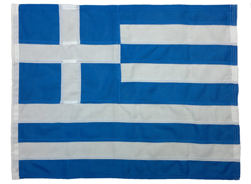 Greece sewn stitched courtesy Greek flag state marine boat yacht woven polyester MoD bonden nylon thread approved UK buy image