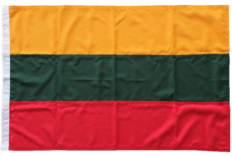Buy sewn Lithuania Latvia Lithuanian courtesy navy naval ensign dutch marine holland tricolour flag andrew Courtesy ensign woven mod fabric stitched traditionaly uk marine outdoor pole image