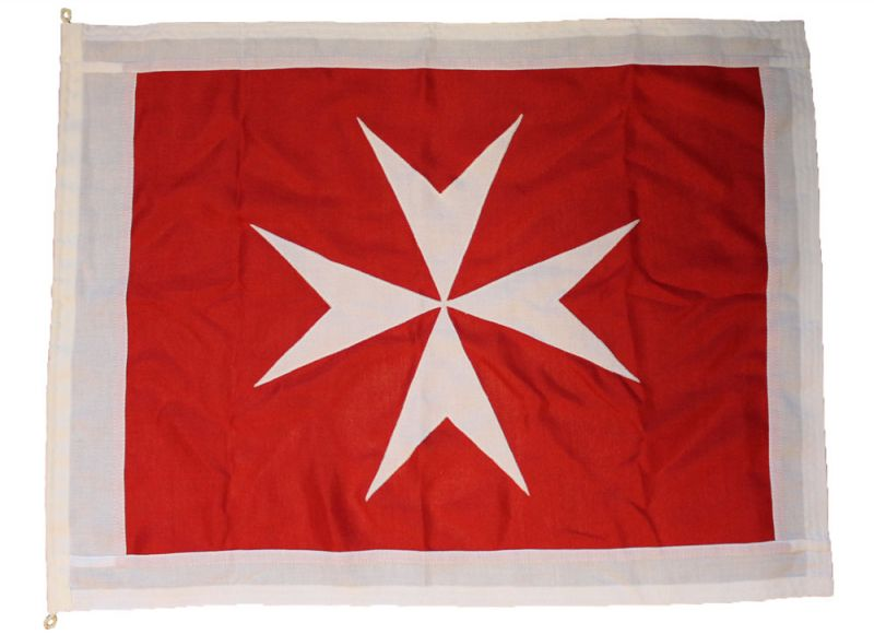 Buy sewn Maltese cross flag Courtesy ensign woven mod fabric stitched traditionaly uk marine outdoor pole image