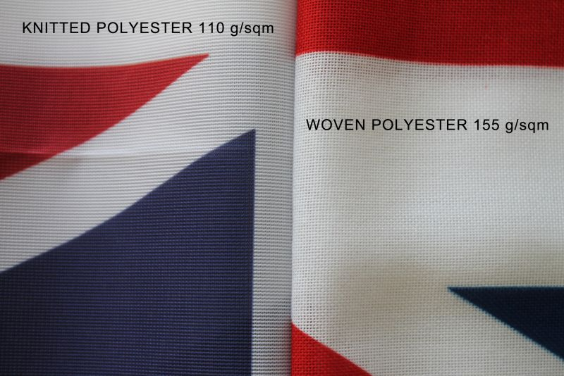 knitted polyester vs woven polyester flag fabric printed flags