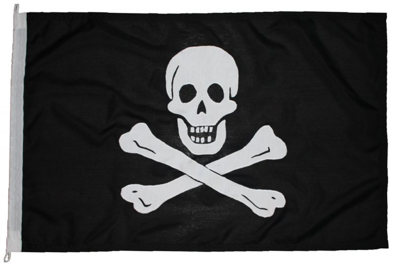Jolly Roger pirate flag photo cloth linen sewn image vintage old