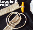linen cloth sewn flag rope and toggle fixture type