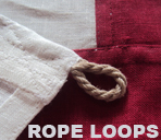 linen rope loops flag cloth sewn hand